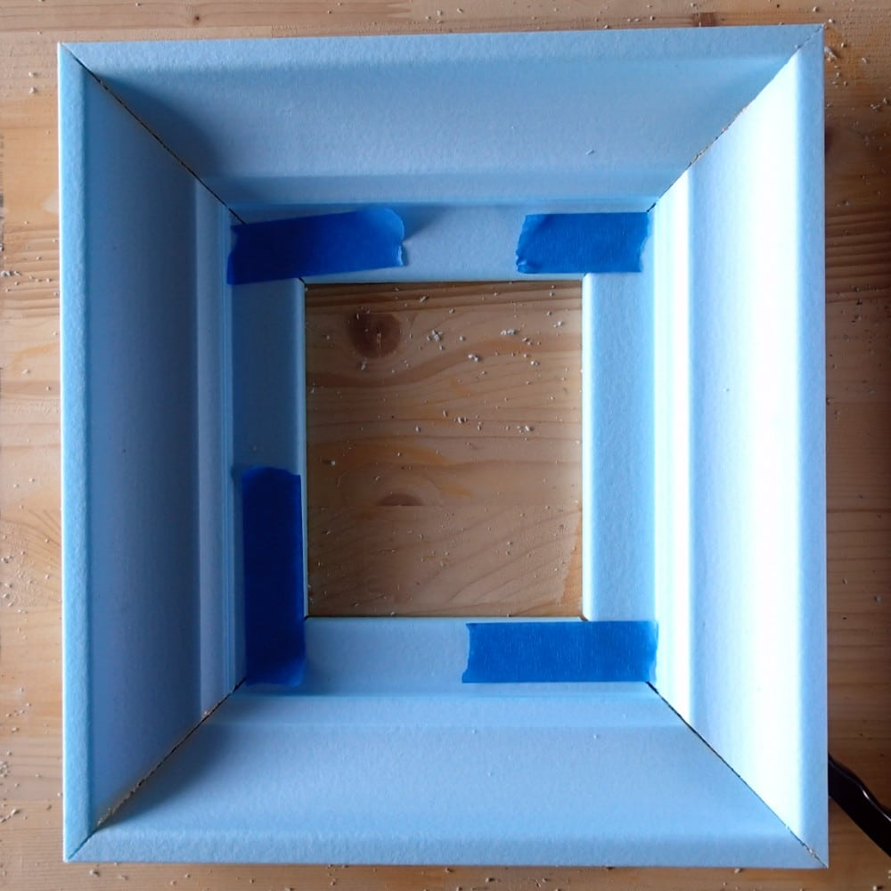 DIY Picture Frame -Painters Tape Holds in Place till Dry